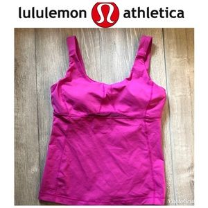 Lululemon Pink Tank Top With Bra Size 8